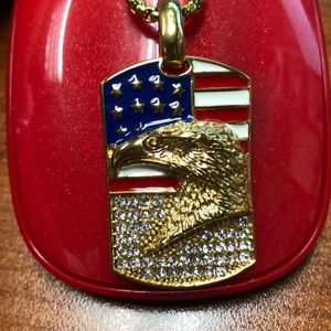 American flag with eagle gold necklace